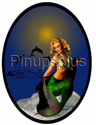 Pinup Decal Waterslide Sexy Mermaid with dolphins under moon S946 by pinupsplus