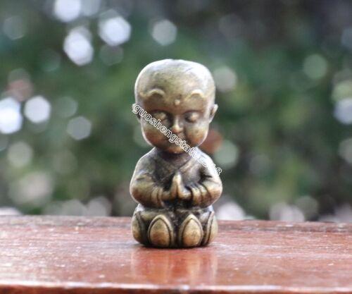 4 CM Chinese Buddhism pure Bronze Little Lotus Monk Boy Sculpture Amulet Pendant