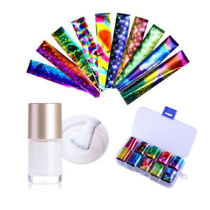 10-Colors-Nail-Art-Transfer-Foil-Sticker-amp-Glue-Set-for-Nail-Tips-Decoration-Kit