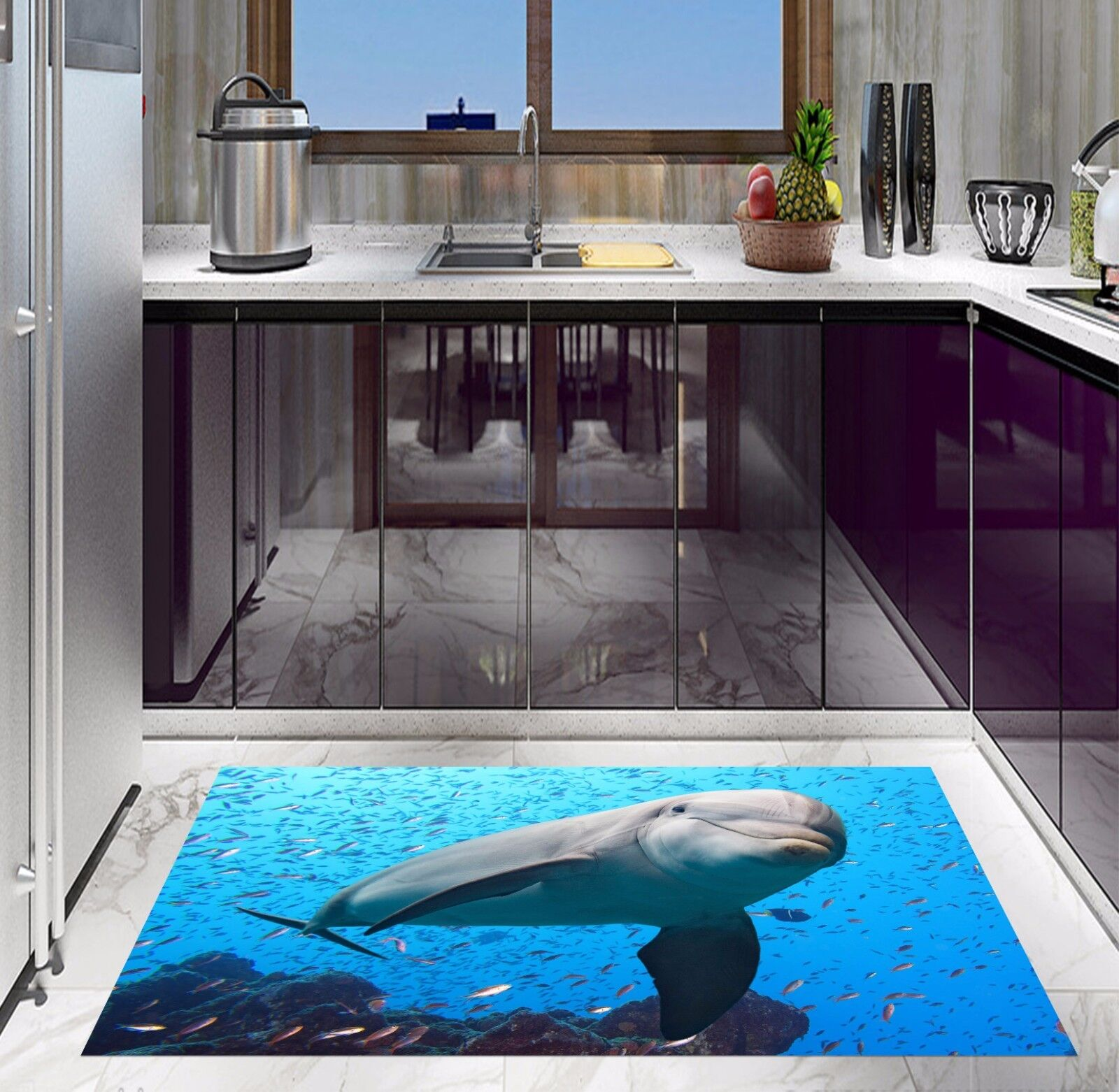 3D Marine Dolphins 84 Kitchen Mat Floor Murals Wall Print Wall Deco UK Carly