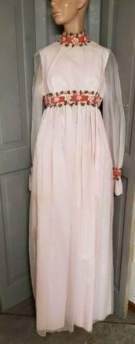 XS-S vtg Hippie Wedding Dress pink Maxi Gown Daisy