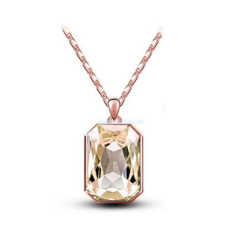 Women Fashion Rectangular Crystal Silver Chain Pendant Necklace Jewelry Gift