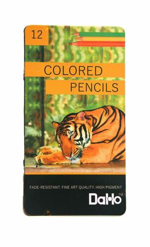 12 Quality COLORED PENCILS IN TIN CASE Basic Colors HIGH PIGMENT FADE RESISTANT