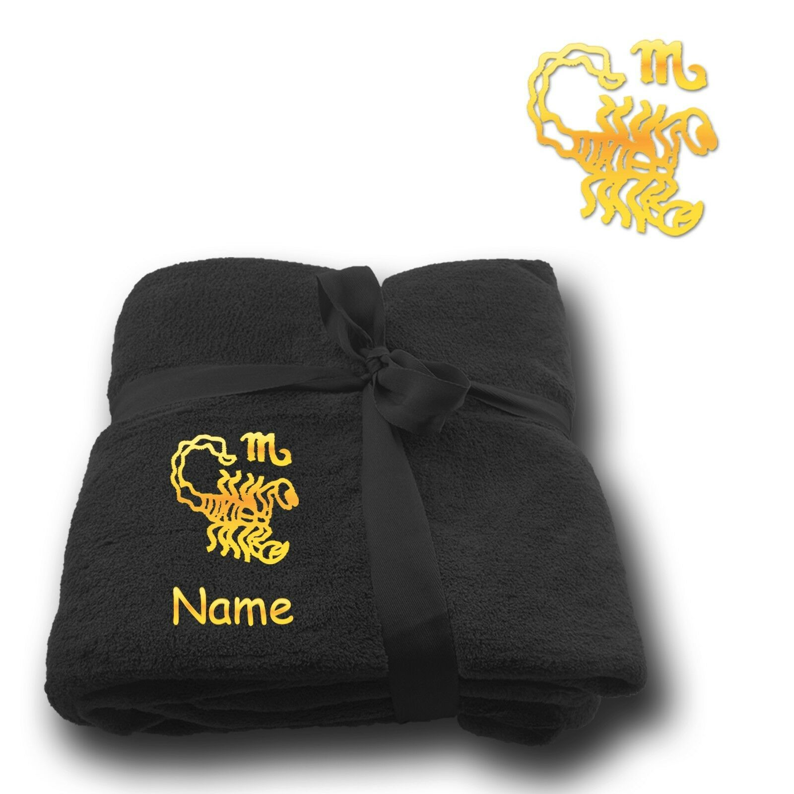 Fleecy Cuddle Blanket Blanket Embroidery Embroidered Zodiac Sign Scorpio + Name