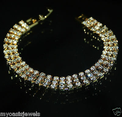 3 Row Rhinestone Crystal Bracelet Bridal Gold Tone Bridal Pageant Prom Jewelry