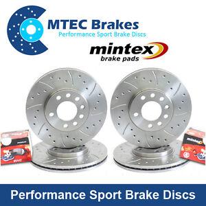 Mazda-Rx8-323-mm-delantera-y-traseras-perforadas-acanalado-Mtec-Discos-De-Freno-amp-Mintex