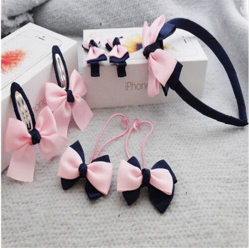 Mädchen Haarschmuck Set Kinder  Haarreif Schleife Haarspangen Haargummis neu 7x