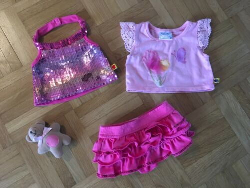Teddys BUILD A BEAR KLEIDUNG SCHÖNES 3 TEILIGES SET VOLANT ROCK PAILLETTEN TOP & SHIRT