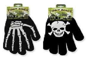 Halloween-Gloves-Glow-in-the-Dark-Kids-Full-Finger-Black-Stretchy-Magic
