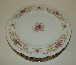 "Set of 6 Vintage Style House Fine China Rose Baroque 10-3/8"" Dinner Plates"