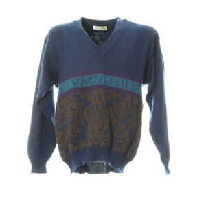 Herren-Strickpullover-Gr-L-Vintage-Retro-Motiv-Sweater-Langarm-V-Ausschnitt