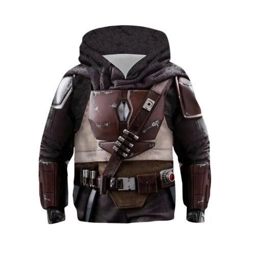 Star Wars Mandalorian Kids Hoodies Hooded Pullover Jacket Casual Sweatshirt Coat