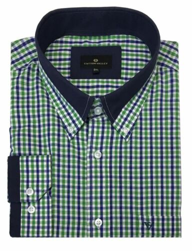 Size 2XL to 6XL Cotton Valley Cotton Rich Navy Green Check Long Sleeved Shirt