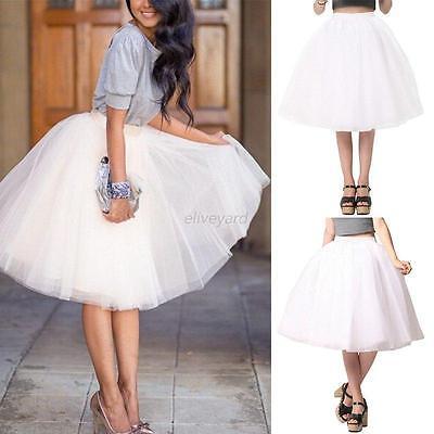 Stylish Womens Ballet Tulle Tutu Skirt Prom Ball Gown Wedding Party Mini Dresses