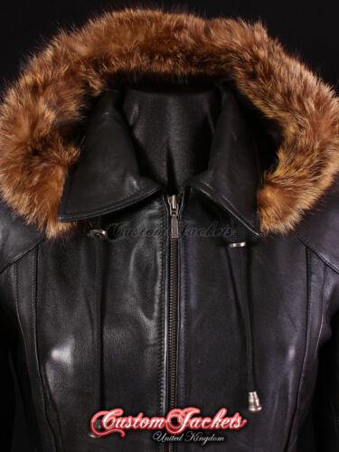 Mesdames Glacier Noir Fourrure à Capuche Parka en cuir véritable veste manteau d/'hiver 5788