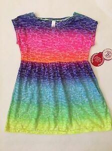 64d561bb76 NEW SO Girls Swim Beach Cover Up Dress UPF 50 Rainbow Size XS ...