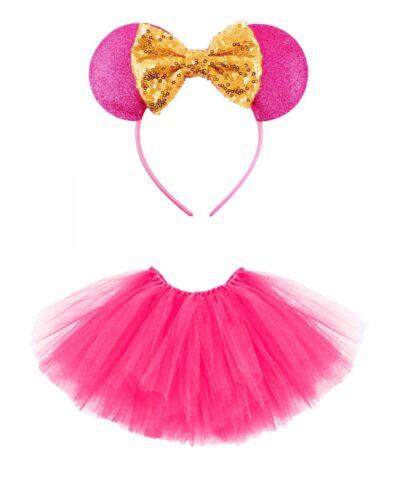 Mini Souris Souris-Set Enfants Costume Tütü Scintillant Paillettes Oreilles 2-tlg Pink