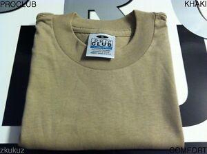 6pc shirt 6 Nouveau uni Kaki Blank Club Proclub Pro S T Tee 3xl Comfort E2H9DWI