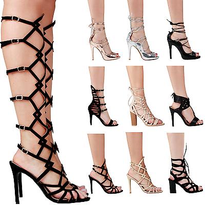 Nuevo Para mujeres Damas STILETTO Mid Tacones Altos Punta Abierta Con Correas Sandalias Zapatos Talla