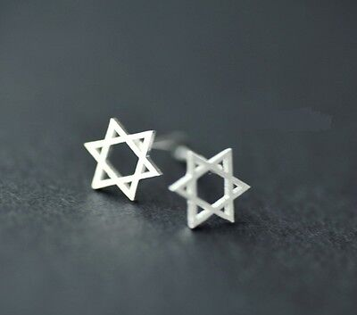 925 Sterling Silver Earrings Studs Hexagram Star of David