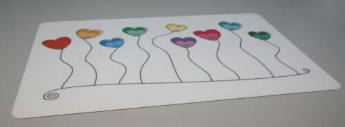 Wahl Schreibtischunterlage bunte Herzen Ballons an Schnur weiß 40 x 60 cm 2