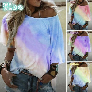 Womens-Summer-Casual-Blouse-Tops-Ladies-Holiday-Gradient-Tie-Dye-Loose-T-Shirt