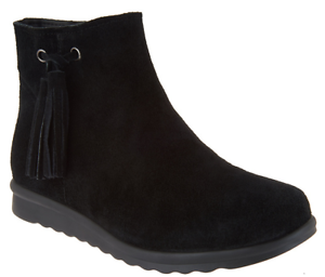 Vaneli Suede Ankle Boots with Tassel - Dommie 11 Womens Black Booties New