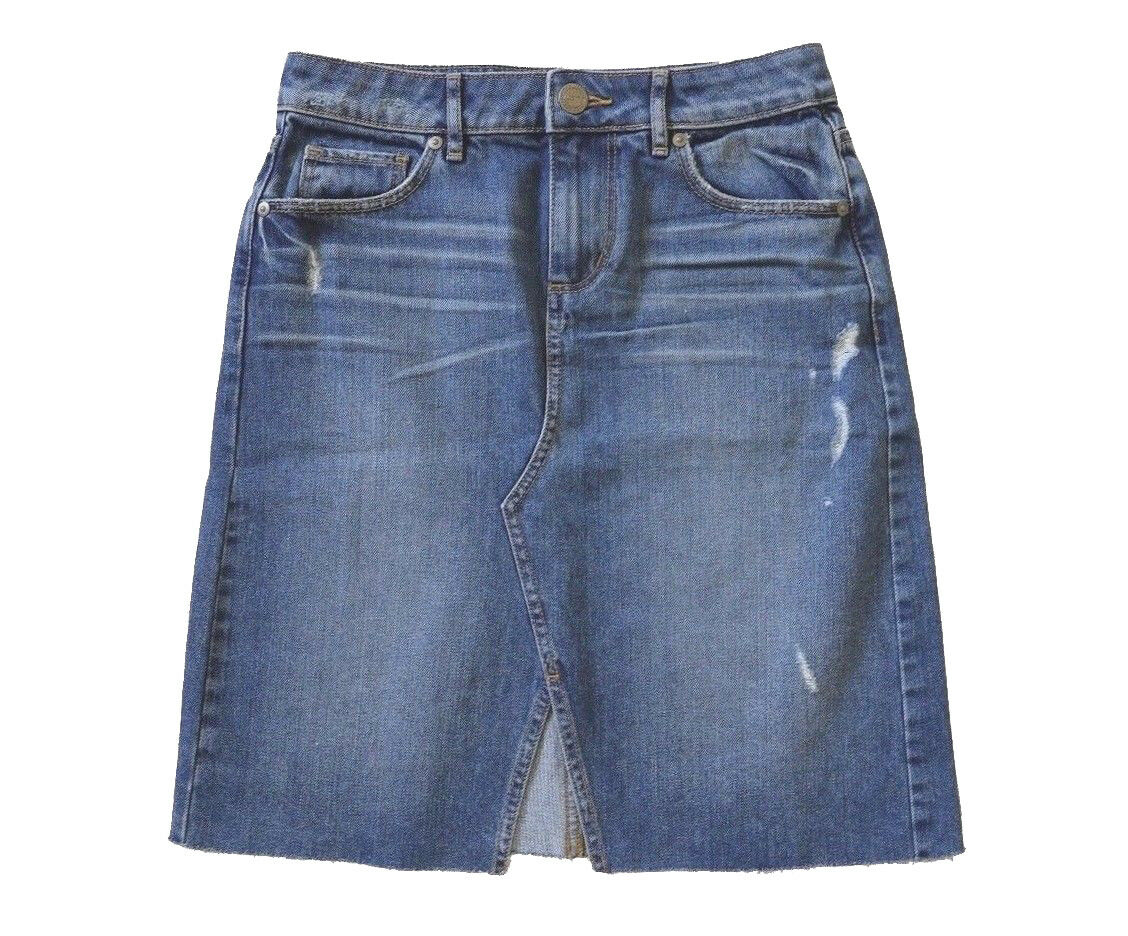 LOFT - Womens 6 (S) - NWT - Distressed Denim A-Line Skirt
