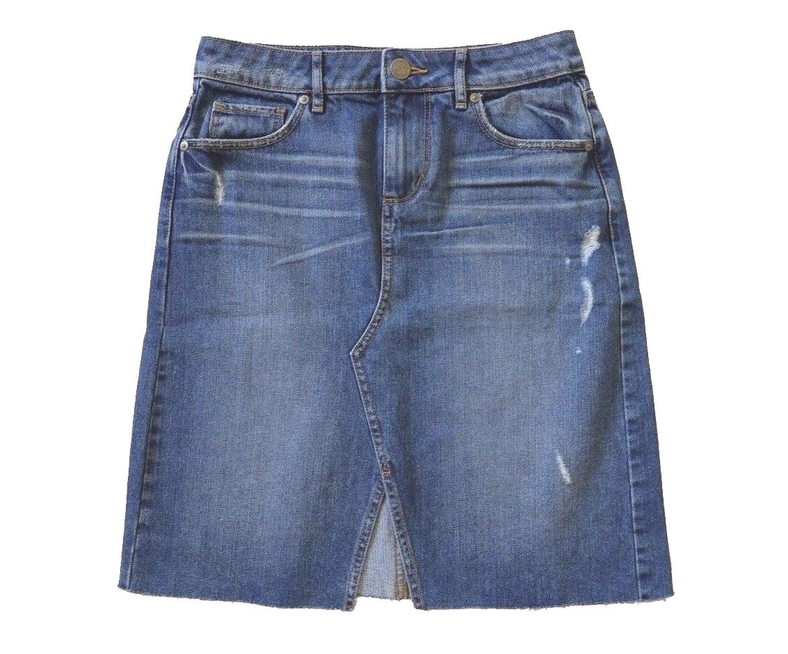 LOFT - Womens 2 (XS) - NWT - Distressed Raw Edge Denim A-Line Skirt