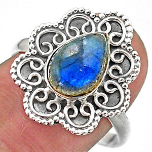 2.53cts Solitaire Natural Blue Labradorite Pear 925 Silver Ring Size 9 T41474
