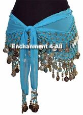 New Handmade Exotic Belly Dance Hip Scarf Wrap w Golden Beads & Coins, Turquoise