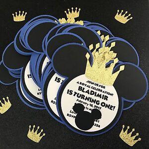 Prince Mickey Mouse Royal Invitations Birthday Party Favor Card Ebay