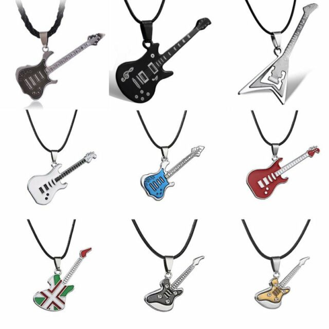 Cool Rock Stainless Steel  Guitar Leather Chain Pendant Necklace Men Jewelry New