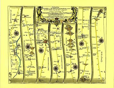 Bourne  Replica 17c OGILBY Old Road Map Tempsford to Lincoln inc.Peterborough