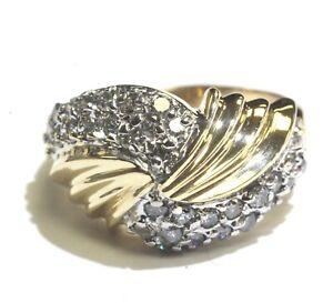10k-yellow-gold-diamond-66ct-SI2-H-round-cluster-band-ring-6-4g-estate-vintage