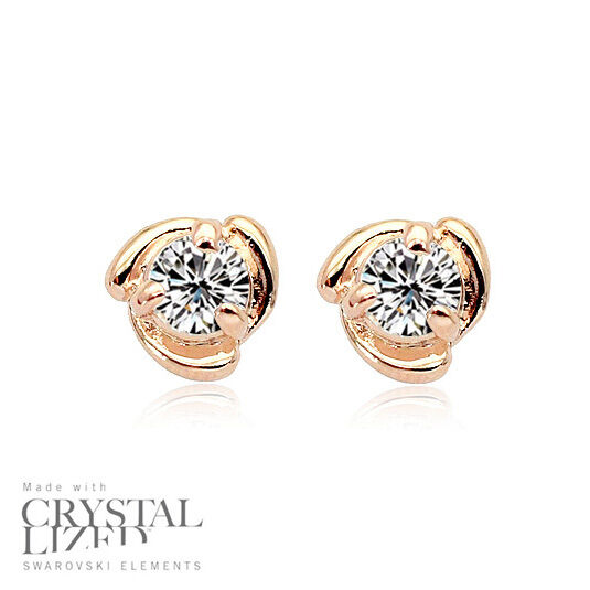 Swirl Eye Swarovski Elements Crystal 18krgp Bridesmaid Gold Plated Stud Earrings Ebay