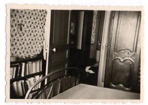 PHOTO ANCIENNE Intérieur Maison Chambre Lit Bibliothèque Vers 1940 ...