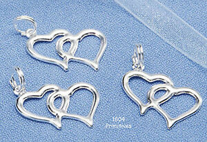 20 Silver Finish Double Heart Charms ~ Wedding Favors ...