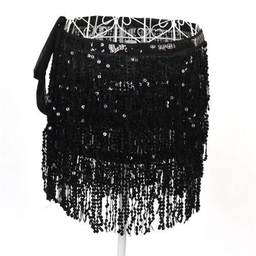 Belly Dance Costume Sequin Tassel Fringe Hip Scarf Belt Waist Wrap Skirt new.