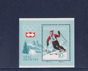 Hongrie-bloc-sport-ski-jeux-olympiques-1964-num-BF-46