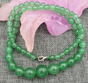 6-14mm-Green-Natural-Emerald-Round-Beads-Necklace-18-034-AAA
