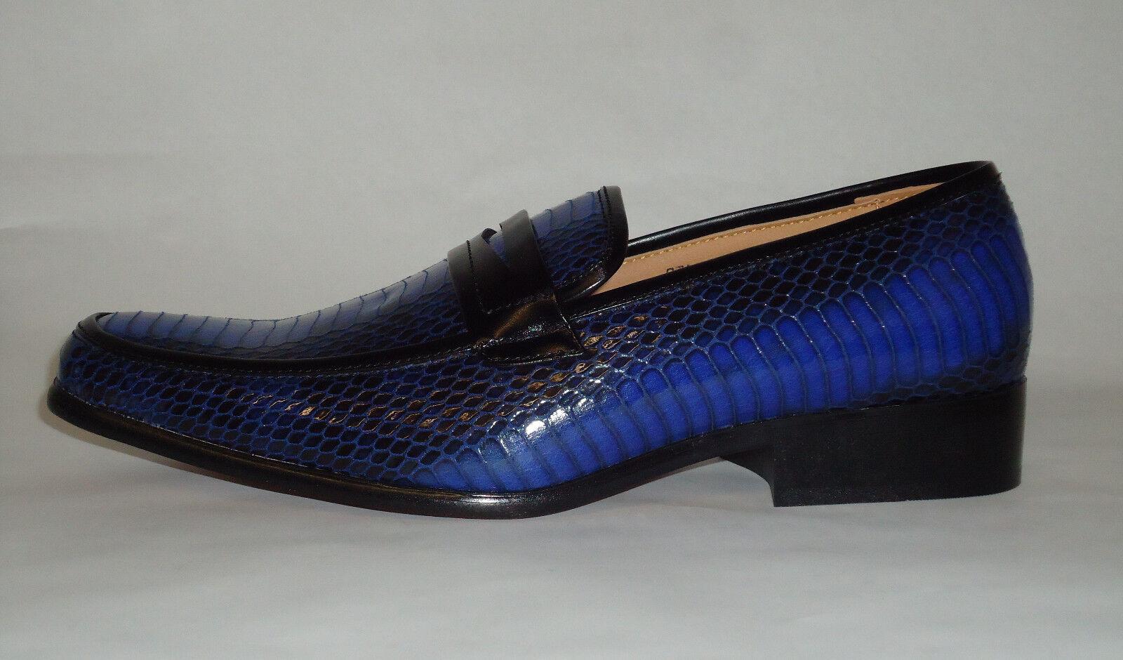 Antonio Cerrelli 6494 Mens Amazing Royal bluee Snake Embossed Dress Loafers shoes