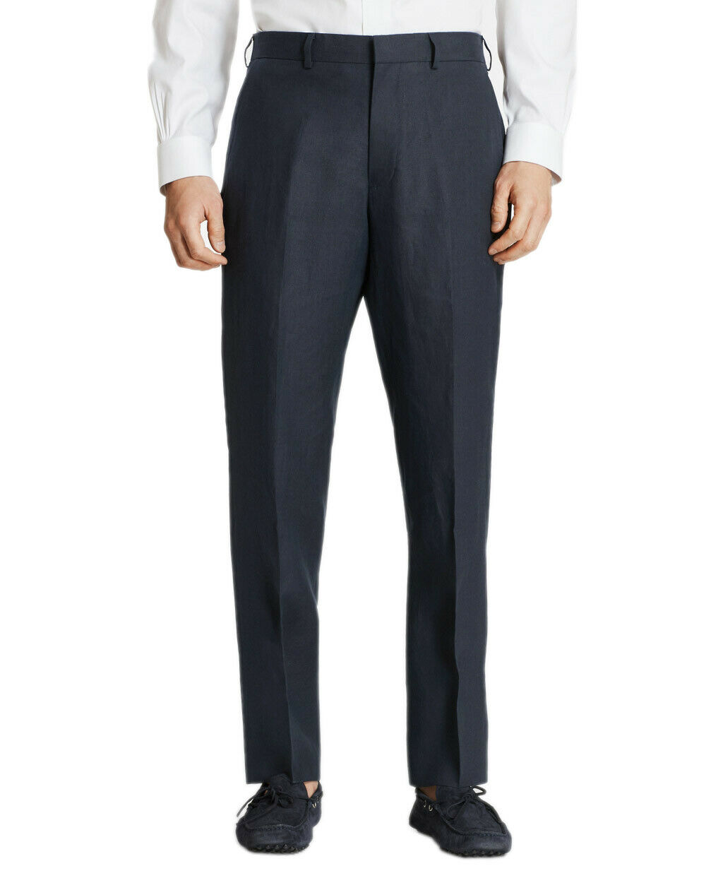 Brooks Bredhers Mens Navy bluee Regent Linen Flat Front Pants 38S Short 8606-3
