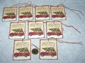 6~Primitive~Christmas~Red Truck~Fussy Cut~Linen Cardstock~Gift~Hang~Tags~Ornies