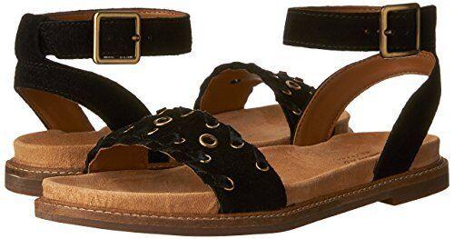 0aff1d853aaf Clarks Women s Corsio Amelia Ankle Strap Sandal 10 M Black Cow Suede ...