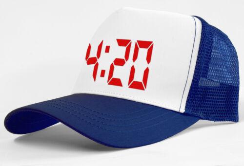 RETRO TRUCKER CAP 4:20 420 DESIGN HALF MESH SNAPBACK BASEBALL SKATE HAT UNISEX
