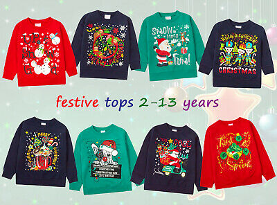 New Boys Girls Christmas Sweatshirt Tops Novelty Festive Gift Xmas Present Cheap
