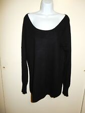 OLD NAVY 100%CASHMERE BLACK DEEP SCOOP NECK OFF SHOULDER LONG SLEEVES SWEATER XL