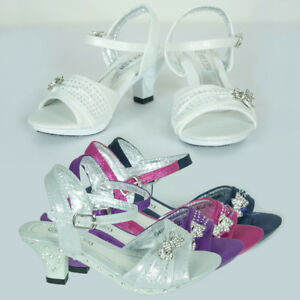 New Girls Glittering Pageant Formal High Heel Shoe Wedding Party AU Sz 9-2