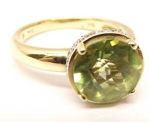 10K-Gold-Peridot-Diamond-Cocktail-Ring-Sz-8-75-Estate-THL-August-Birthstone